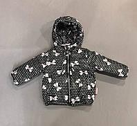 Куртка черная с бантиками на девочку р.68 (3-6 мес), 74 (6-9 мес), 80 (9-12 мес), 86 (1-1,5 года)