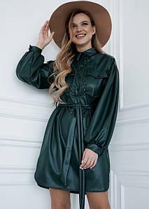 Платье-рубашка из эко-кожи с пышными рукавами