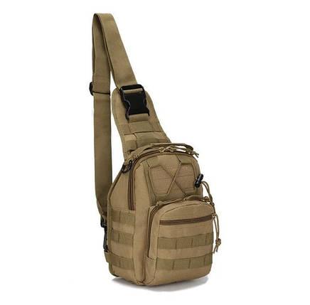 Сумка тактическая мужская на 7л через плечо, штурмовая, военная, армейская сумка рюкзак Oxford 600D, (Песок), фото 2