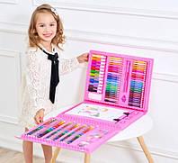 Набор для рисования юного художника с мольбертом (176 предметов) в кейсе Розовый