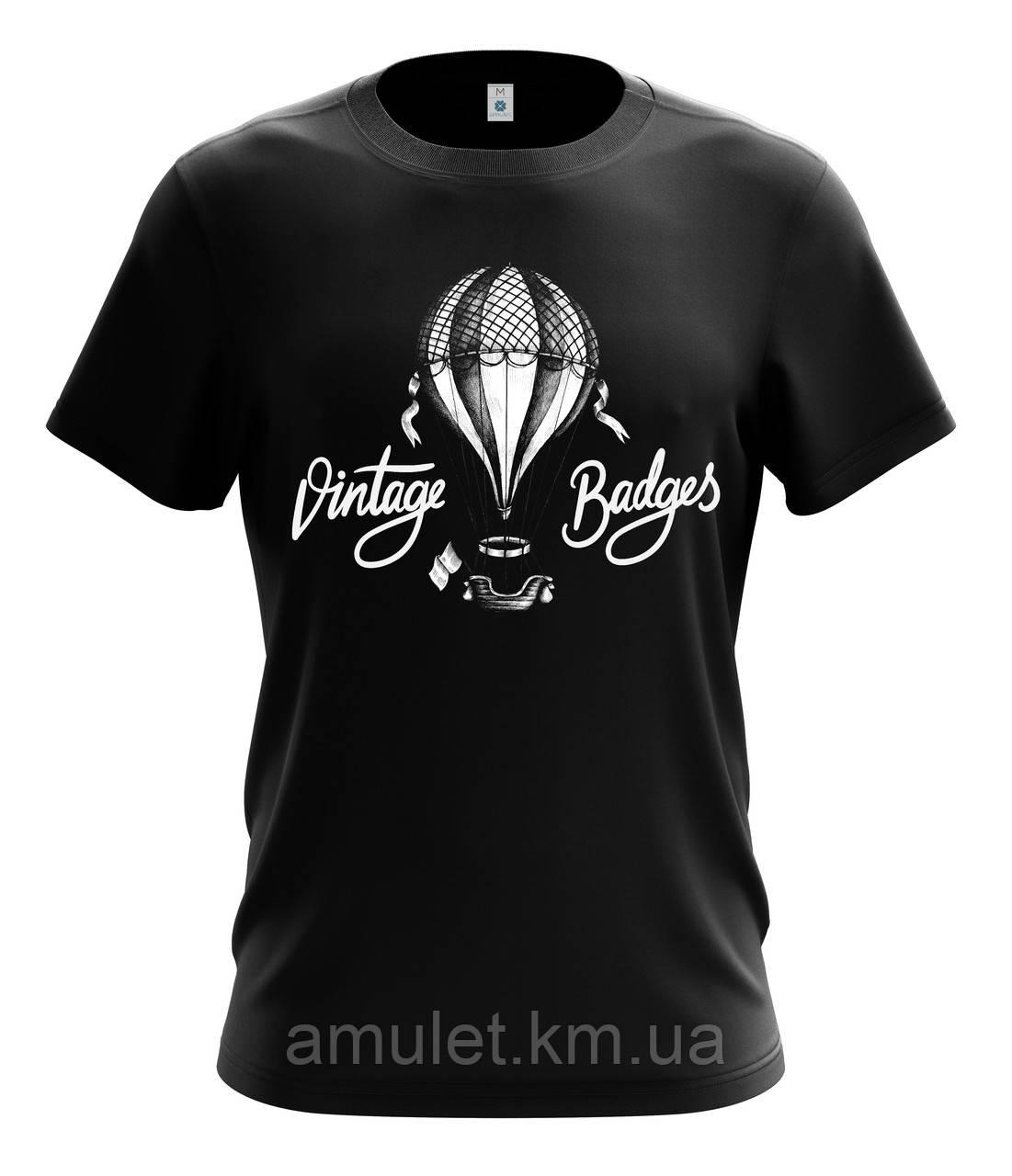 """Футболка мужская с рисунком """"Воздушный шар винтаж"""""""