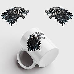 Чашка з принтом Вовк. Гра Престолів. Game of Thrones. Чашка з фото