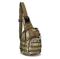 Сумка тактическая мужская на 7л через плечо, штурмовая, военная, армейская сумка рюкзак Oxford 600,(Мультикам)