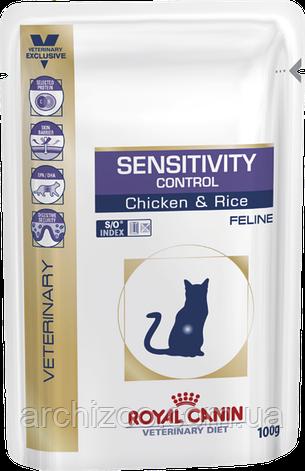 Royal Canin Sensitivity Control Feline 100 гр*12шт паучи с курицей - диета для кошек при пищевой аллергии, фото 2