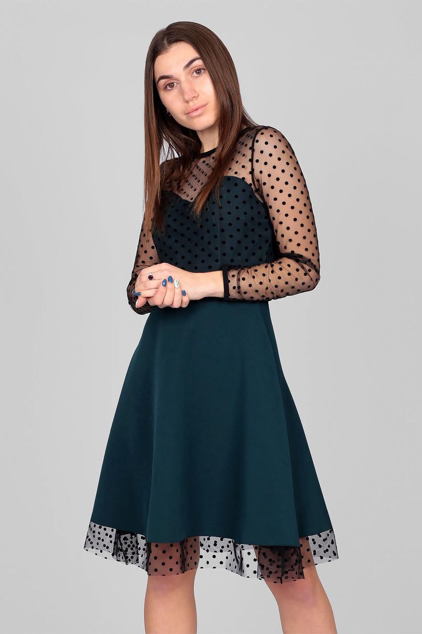 S, M, L | Романтичне коктейльне зелене плаття в сіточку Амелія
