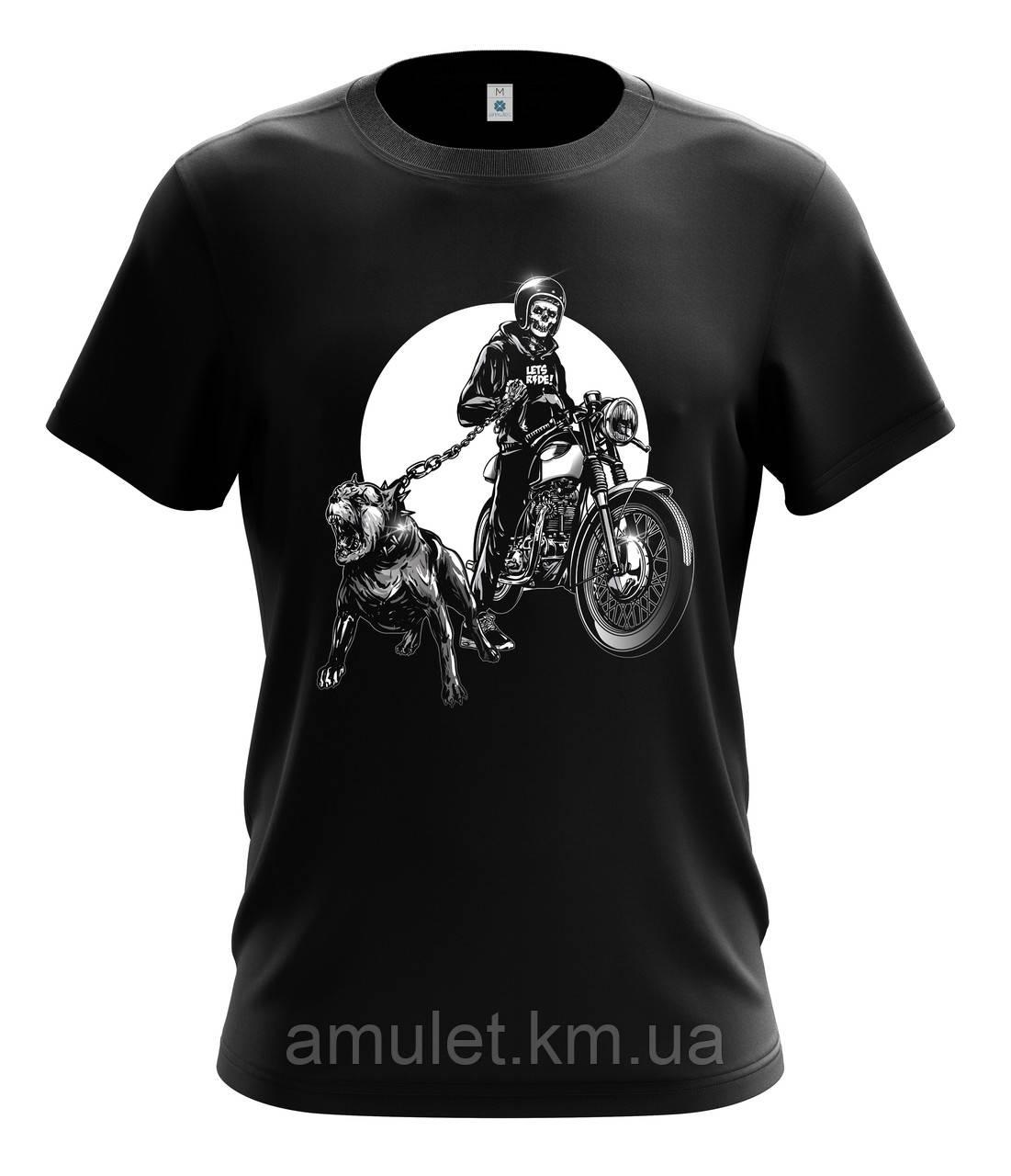 """Мотоциклетная футболка ,байкерская """"Скелет байкер и питбуль"""""""