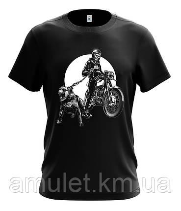 """Мотоциклетная футболка ,байкерская """"Скелет байкер и питбуль"""", фото 2"""
