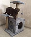 Когтеточка с домиком. Для кошек, 46х36х80 см, фото 2