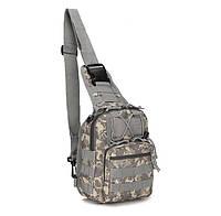 Сумка тактическая мужская на 7л через плечо, штурмовая, военная, армейская сумка рюкзак Oxford 600D, (Пиксель)