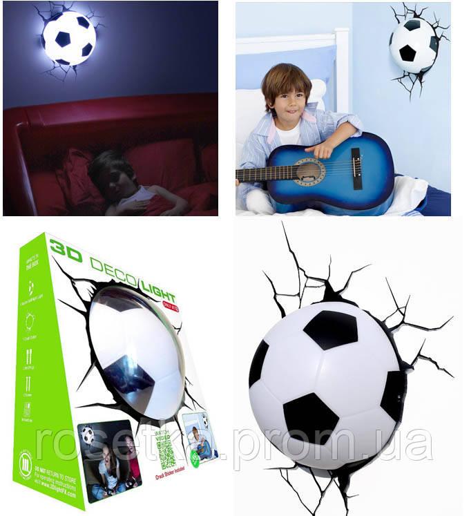 Светильник футбольный мяч 3D Deco Light настенный