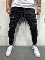 Чоловічі вільні чорні джинси з кишенями, фото 1