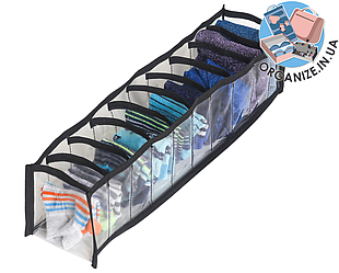 Прозрачный органайзер для трусиков и носков 10 ячеек XS (черный)