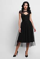 Элегантное платье черного цвета с кружевом и съемным поясом