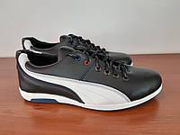 Чоловічі кросівки чорні з білою полосою зручні прошиті ( код 5511 ), фото 1