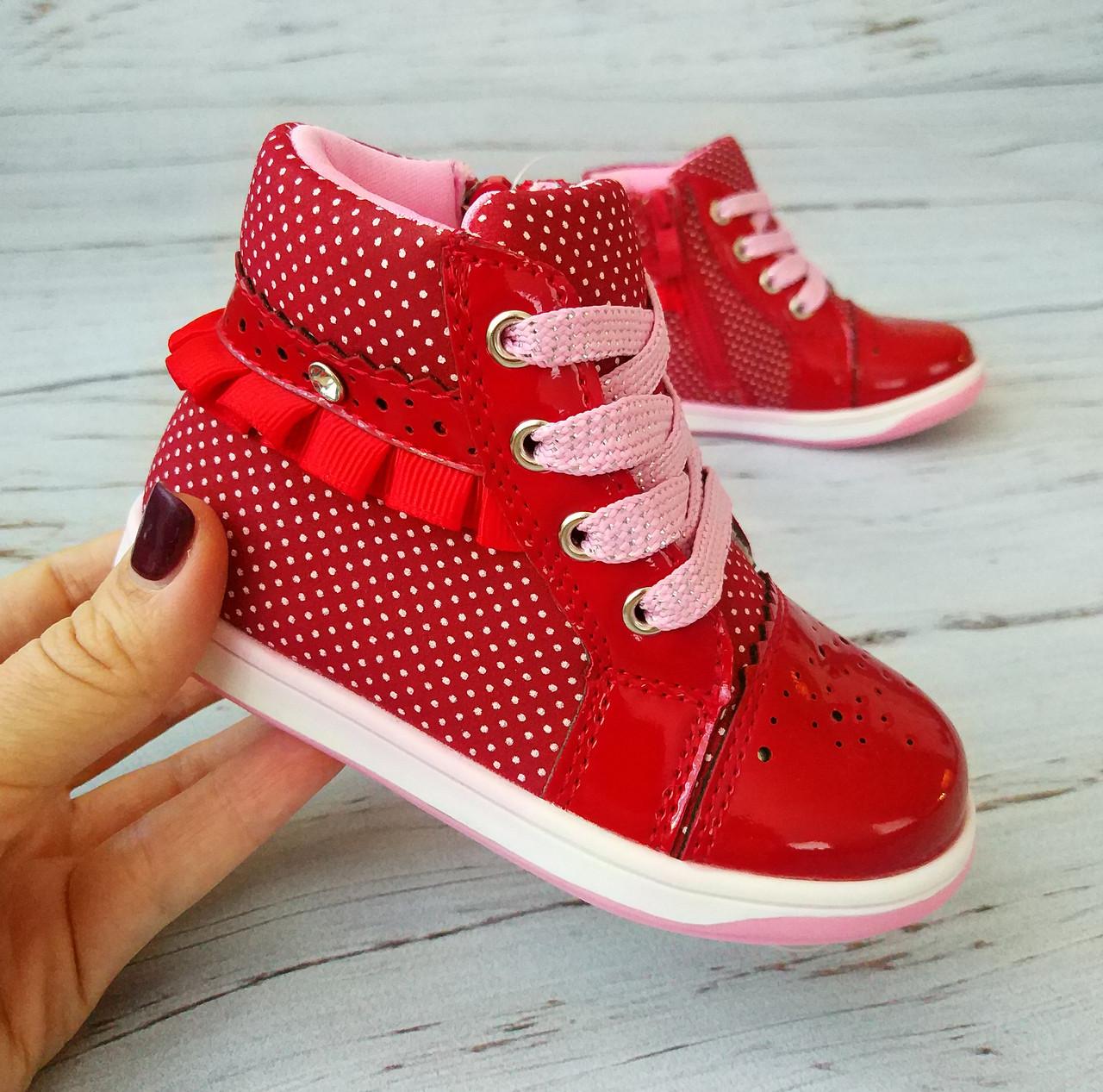 Ботинки для девочек, красные, Clibee 22р. по стельке 14,0 см