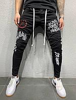 Мужские джинсы черные с рисунками, фото 1