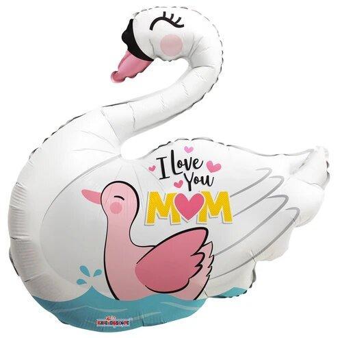 """К 28"""" I Love You Mom Swan Shape"""