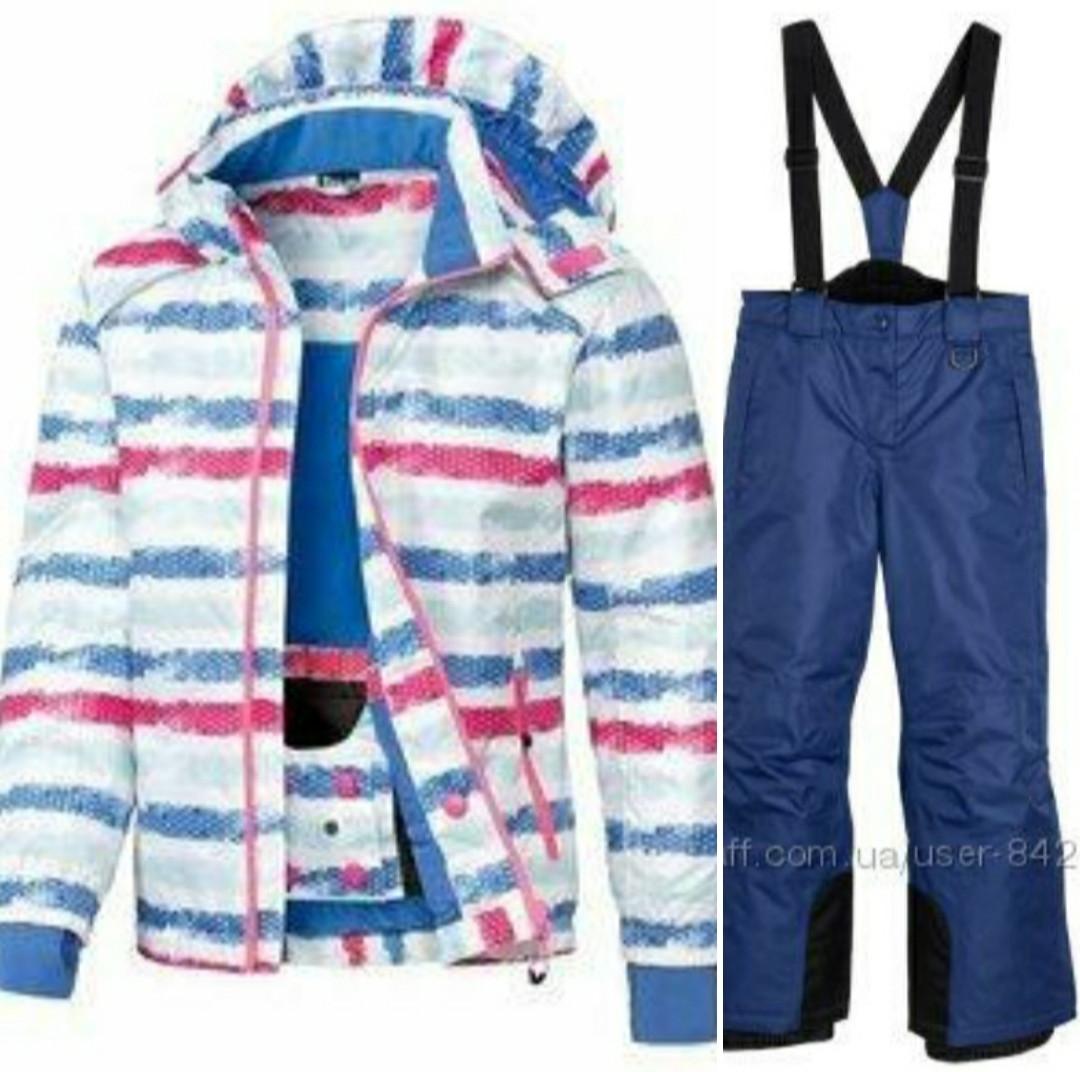 Лыжный костюм для девочки (белая куртка и синие штаны) Crivit р.122/128см