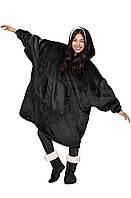 Двухсторонний плед (халат с капюшоном) Huggle Hoodie Black