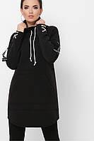 Платье худи в спортивном стиле с карманами и шнуровкой