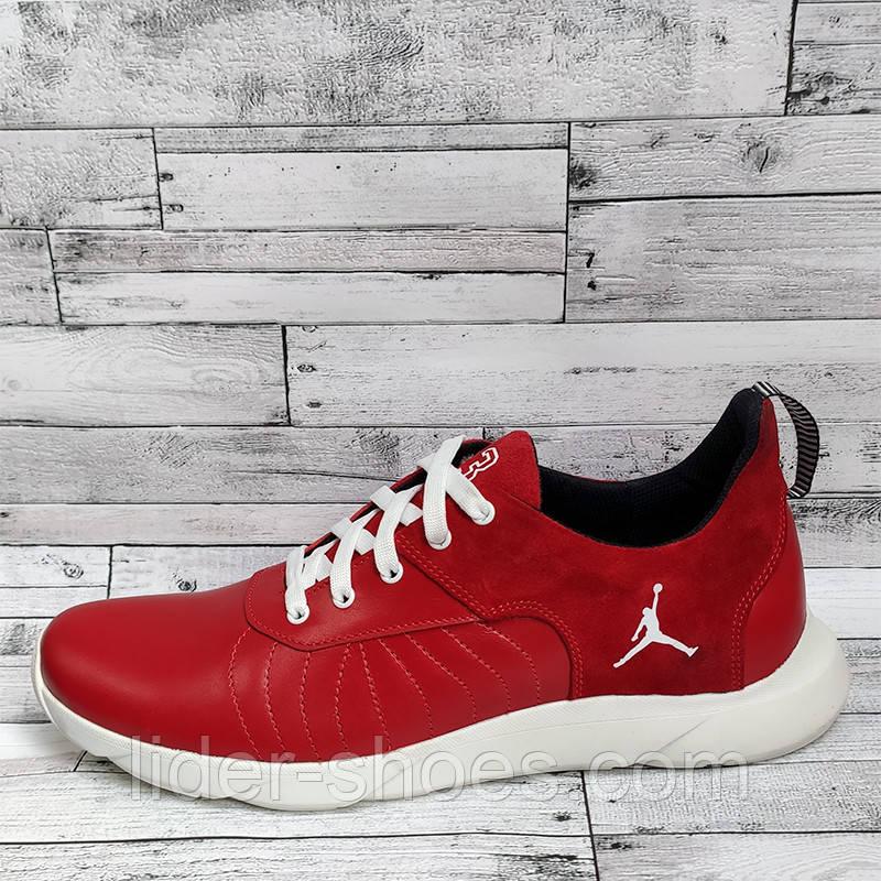 Мужские кожаные кроссовки красного цвета