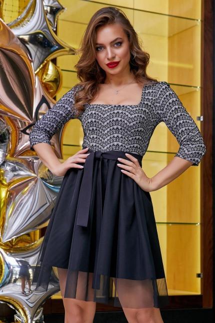 Платье 1278.3911 сероый с черным (S, M, L, XL)