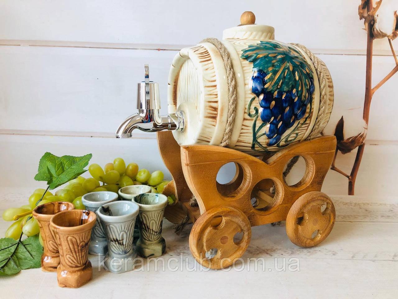 Винний набір Керамклуб керамічний Бочонок 3 л і 6 чарок на дерев'яній возі
