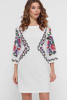Женское платье до колена с цветочным орнаментом белого цвета