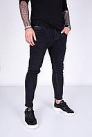 Чоловічі вільні джинси чорні прямі, фото 1