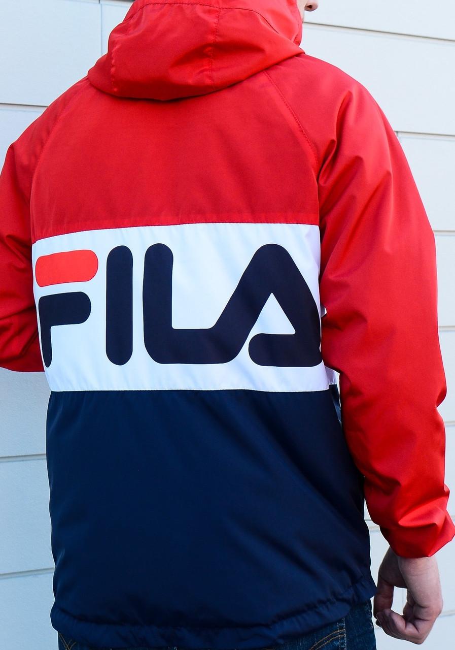 Весенняя мужская куртка Фила сине-красная, остался последний размер S О