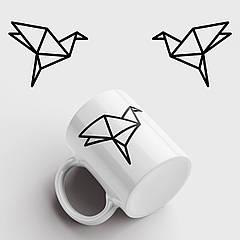 Чашка з принтом Origami Bird. Орігамі. Чашка з фото