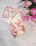 Нарядный конверт на выписку, плюшевый конверт-одеяло для девочки