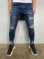 Мужские прямые джинсы синие с потертостями