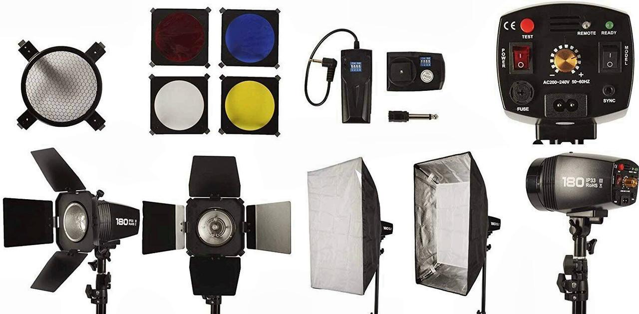 Набір імпульсного студійного світла FST PHOTO EG-180KA IP33 (студійне обладнання)