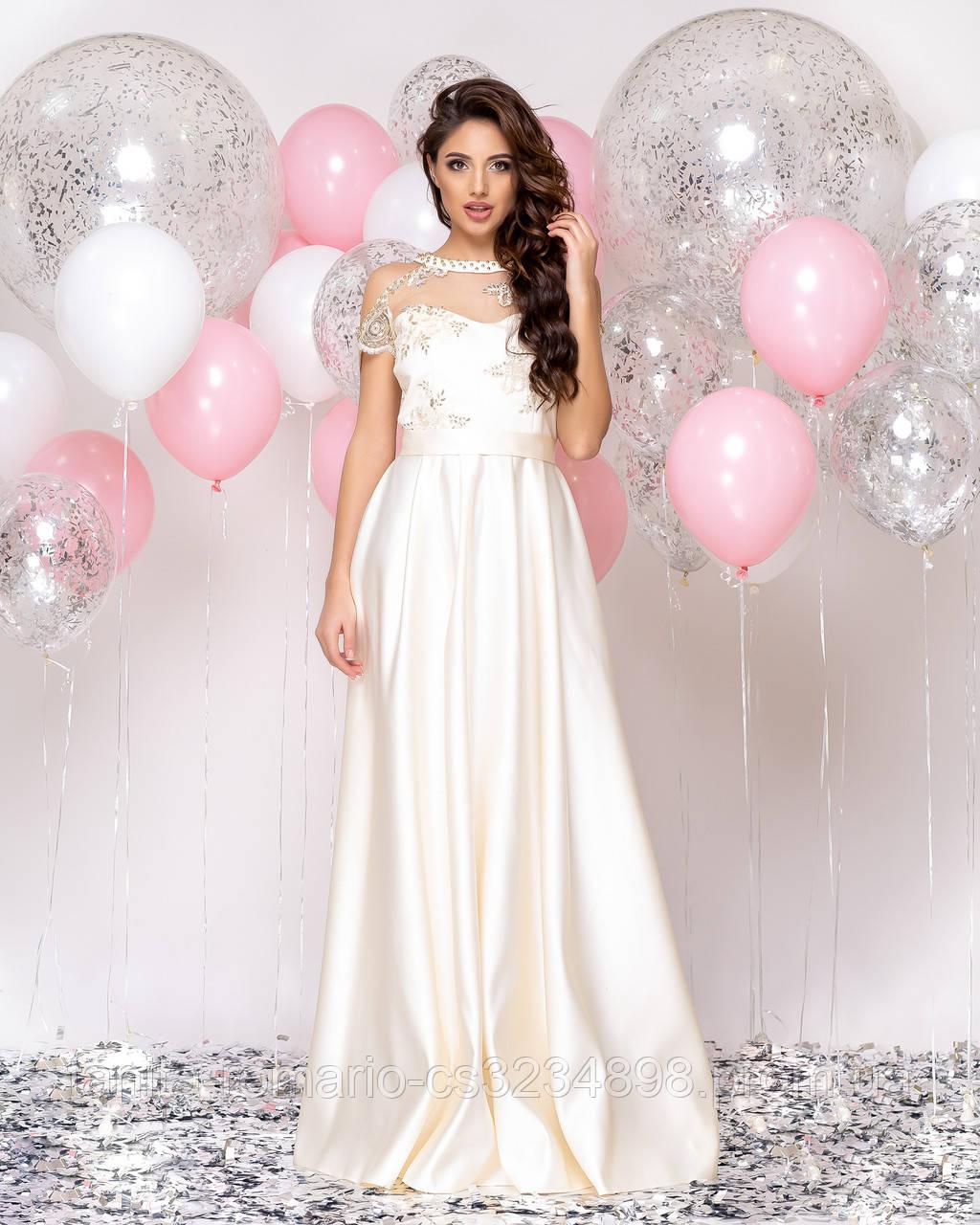 Випускна сукня молочного кольору, атласна з мереживом