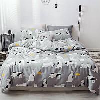 """Полуторный комплект постельного белья """"Кот и рыбка"""" (хлопок), фото 1"""