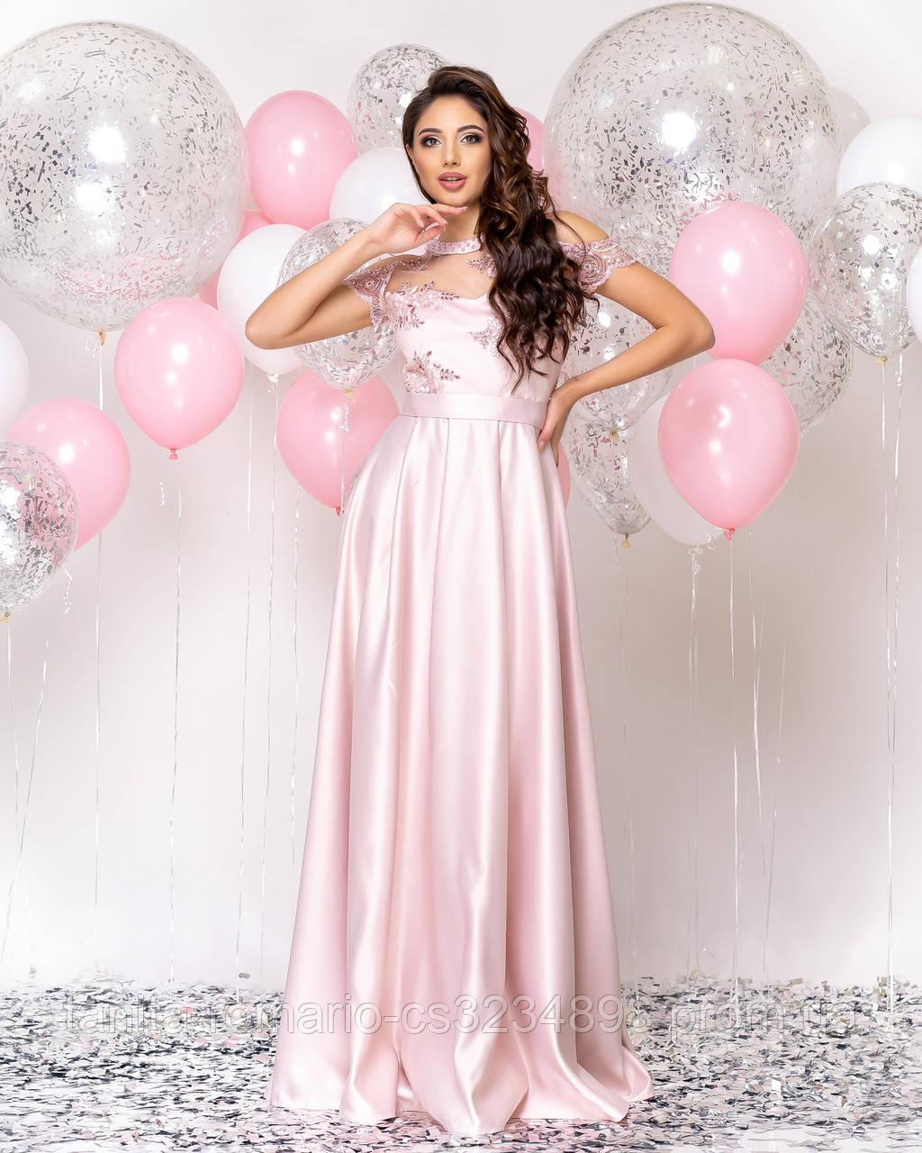Випускна сукня рожевого кольору, атласна з мереживом