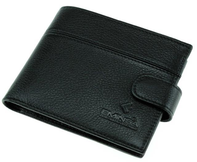 Мужское портмоне кожаное черное Eminsa 1027-12-1