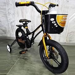 Детский велосипед 14 GALAXY Black  черный магниевая рама