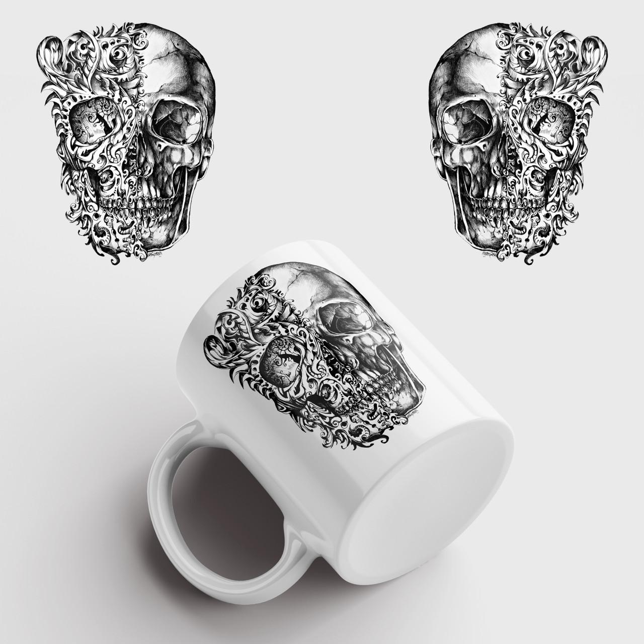 Кружка с принтом Skull Art. Череп Арт. Чашка с фото
