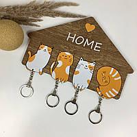 Оригинальная деревянная ключница с милыми котиками, фото 1