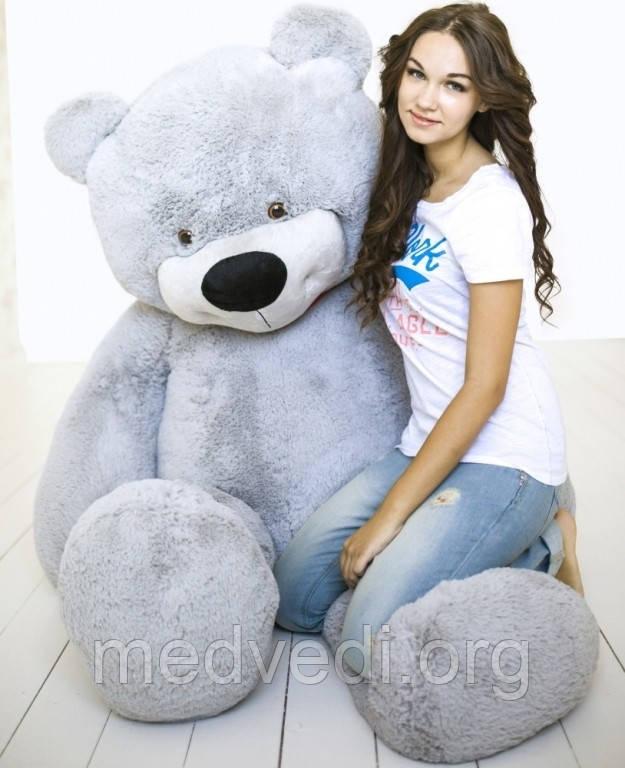 Серый плюшевый мишка 200 см, мягкая игрушка медведь