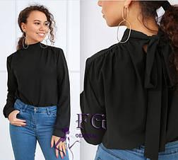 Бежевая деловая блузка с бантом-завязкой на спинке длинный рукав, фото 3