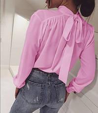 Бежевая деловая блузка с бантом-завязкой на спинке длинный рукав, фото 2