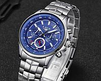 Стильные кварцевые мужские часы LIGE Digit Изготовлены из нержавеющей стали Все циферблаты рабочие Код: КШ0885