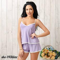 Комплект трикотажный женский: шорты и майка New Fashion SKV-140lilac | 1 шт.