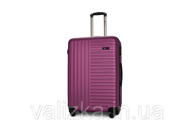 Чемодан из противоударного пластика большого размера Fly на 4-х колесах темно-фиолетового цвета., фото 2