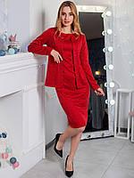 Красное облегающее платье с пиджаком размер 42