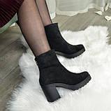 Ботинки женские на высоком устойчивом каблуке, из натуральной замши с лазерным напылением. 37 размер, фото 2