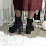 Ботинки женские на высоком устойчивом каблуке, из натуральной замши с лазерным напылением. 37 размер, фото 4